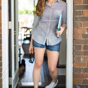 MERONA casual mixed stripe cotton b&w blouse